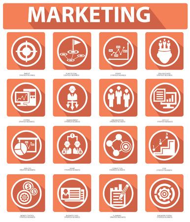 tradeswomen: Flat Marketing Icons,orange version