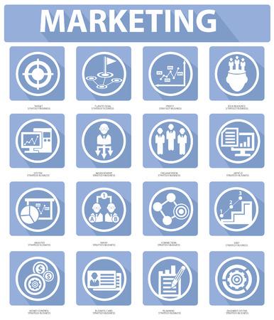 tradeswomen: Flat Marketing Icons,Blue version Illustration