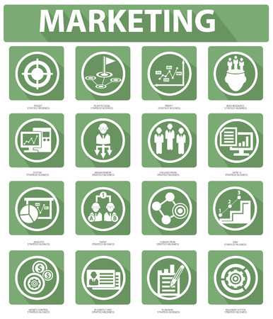 Flat Marketing Icons,Green version Vector