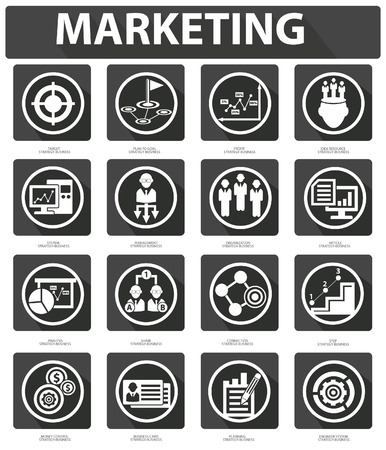Flat Marketing Icons,Black version Vector