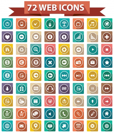 72 Flat Website Icons,Colorful version,vector