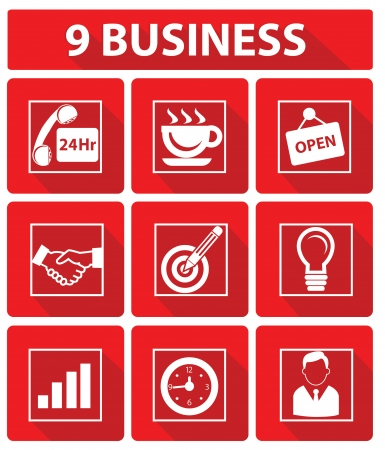 9 Business concept,Red version,vector Vector
