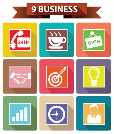 9 Business concept,Colorful version,vector Vector
