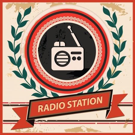 Radio symbol,Vintage style,vector Vector