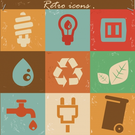Ecology icons,Retro style,vector Vector