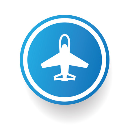 Airplane symbol,Blue button,vector