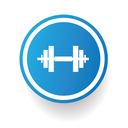 Weightlifting symbol,Blue button,vector Vector