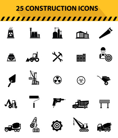 Construction icons,Black icons,White background version,vector