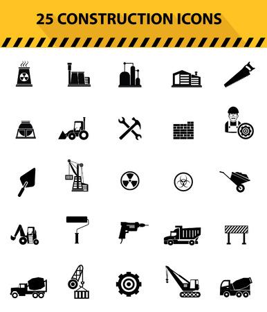 herramientas de construccion: Iconos de la construcción, los iconos negros, versión de fondo negro, vector
