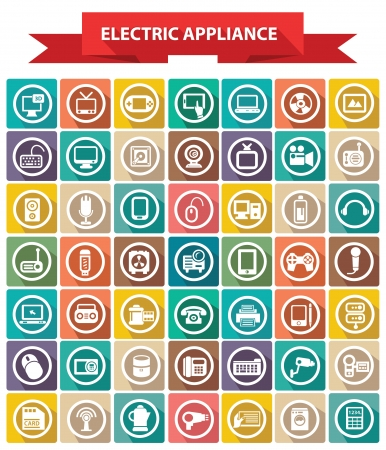hi fi: Electric appliance icons,Colorful icons,White background version,vector