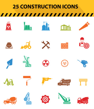 warning saw: Construction icons,Colorful icons,White background version,vector