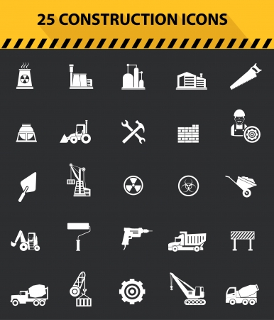 skid steer: Construction icons,Gray background version,vector