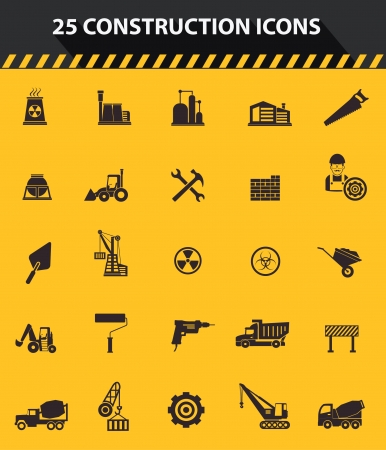 jack hammer: Construction icons,Yellow background version,vector