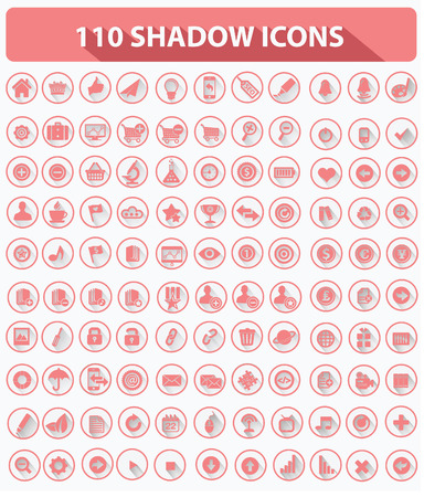 feed back: 110 Website Icons,High quality,Shadow style,Pink version on white background,vector