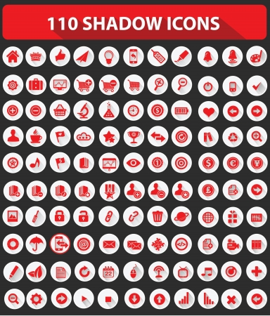 toolbar: 110 Website Icons,High quality,Shadow style,Red version on white background,vector Illustration