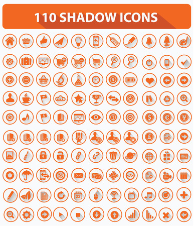toolbar: 110 Website Icons,High quality,Shadow style,Orange version on white background,vector