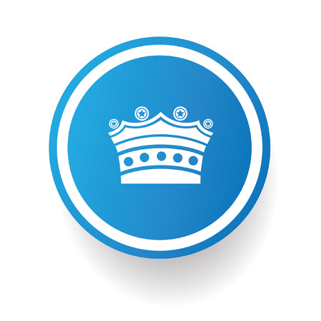 Crown symbol,Blue button,vector Vector