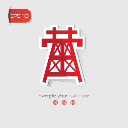 High voltage symbol,Red version,vector Vector