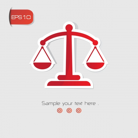 acquittal: Justice scales symbol,Red version,vector