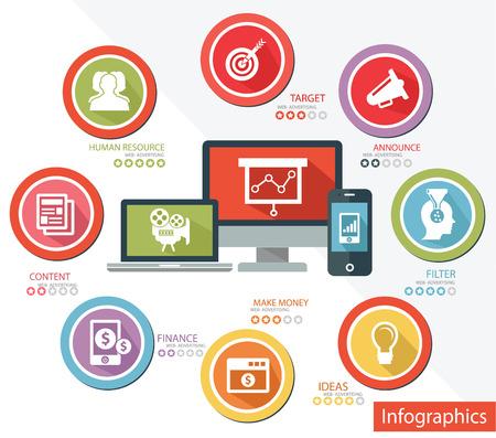 portable radio: Web Advertising concepto Responsive, vector