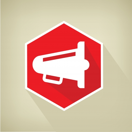 survives: Megaphone button,vector  Illustration
