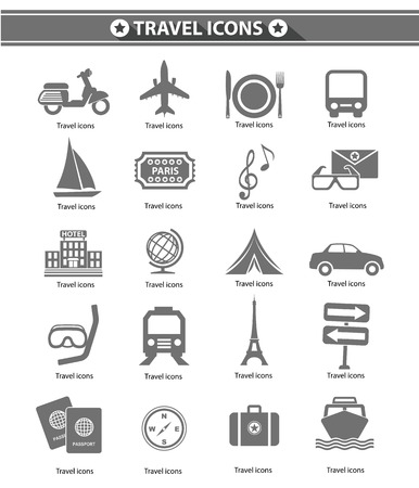 ico: Travel icons,Gray version,vector