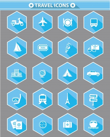 Travel icons,Blue version,vector
