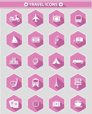 Travel icons,Pink version,White background,vector  Vector