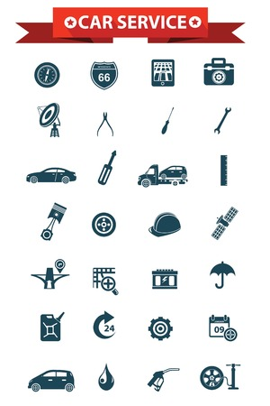 Car service concept icons,Blue version,vector Vector