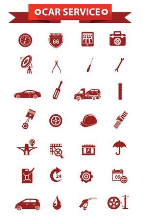 Car service concept icons,Red version,vector Ilustração
