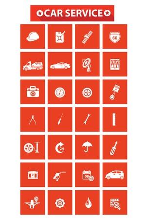 Car service concept icons,Orange version,vector Vector