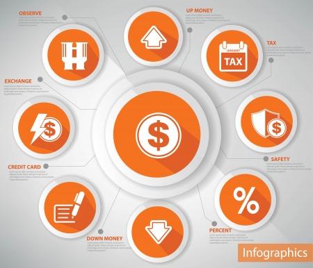 truncheon: Money   Economic Concept,Orange version,vector Illustration