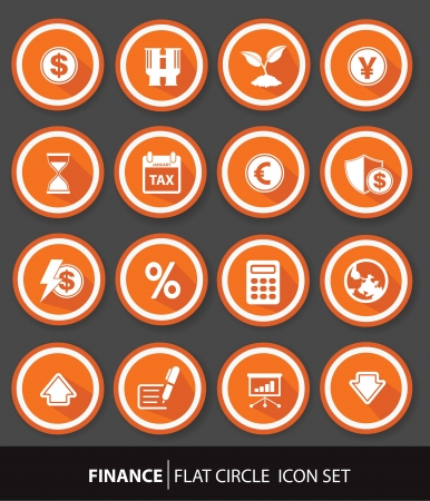 Economic and finance buttons,Orange version,vector Vector