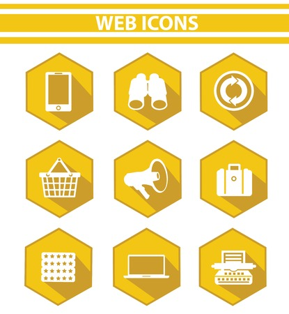 Web icons,Yellow version Vector