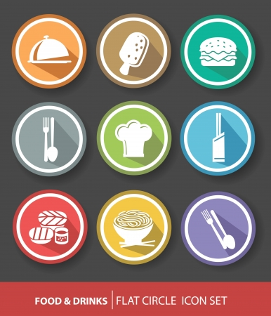 Food buttons,Colorful version  Vector