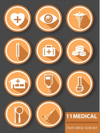 Medical buttons,Orange version  Stock Vector - 24753559