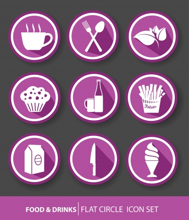 Food buttons,Violet version  Vector