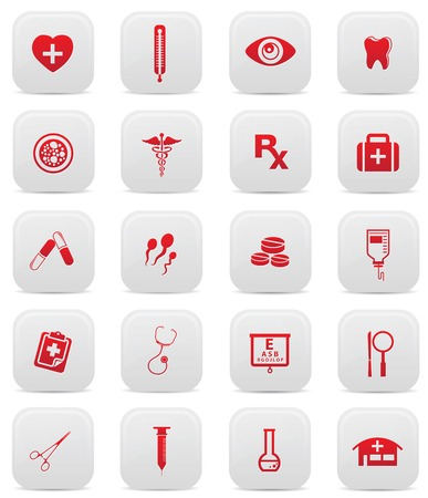 Health care buttons,Red version Stock Vector - 24828976