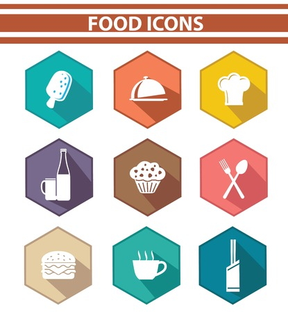 Kitchen and food icon set,Colorful version,vector on white background  Vector