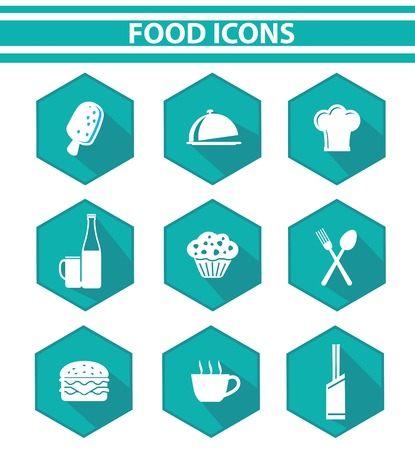Kitchen and food icon set,Blue version,vector on white background  Vector