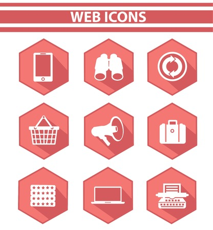 Web icons,Pink version,on white background,vector Stock Vector - 25211353