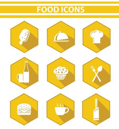 gateau: Cucina e cibo icona set, la versione Giallo, vettoriale su sfondo bianco