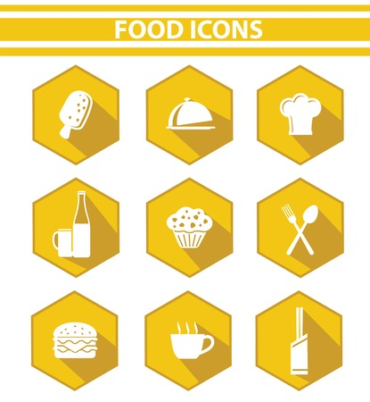 Kitchen and food icon set,Yellow version,vector on white background  Vector
