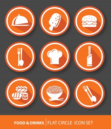 Food buttons,Orange version  Vector