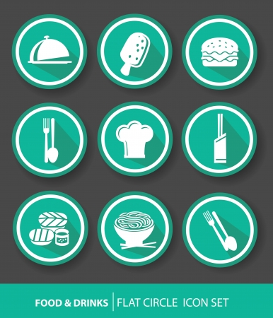 Food buttons,Green version  Vector