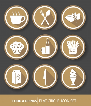 Food buttons,Brown version Vector