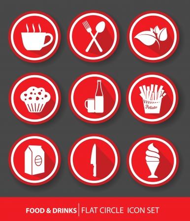 alimentos y bebidas: Comida Bebidas botones, versi�n roja, vector