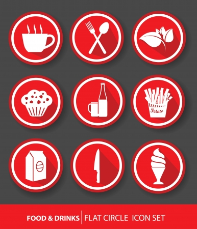 Food   drinks buttons,Red version,vector Vector