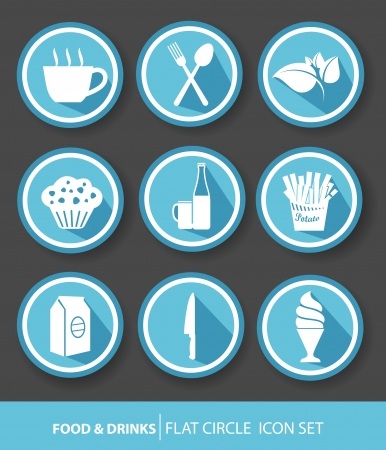 Food   drinks buttons,Blue version,vector Vector