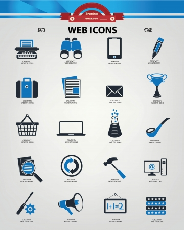 Web icons,blue version,vector  Vector
